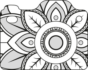 Vector illustration of a mandala camera silhouette