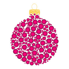 christmas bauble dotted vector design isolated on white background