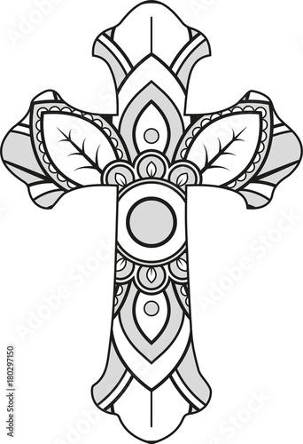Quot Vector Illustration Of A Mandala Cross Silhouette Quot Stock