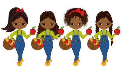 Vector Cute Little African American Girls with Baskets of Apples