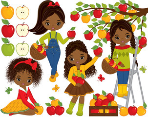 Vector Cute Little African American Girls Picking Apples in Orchard