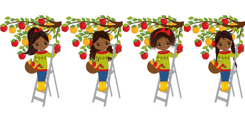 Vector Cute Little African American Girls Picking Apples from Trees