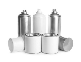 Different paint cans, isolated on white