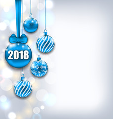 Happy New Year 2018 with Blue Glass Balls, Glitter Light Banner
