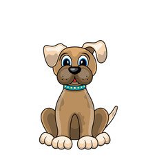 Cartoon Dog Sitting in Collar Isolated on White Background