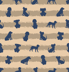 Seamless Template with Different Breeds of Dogs, Texture with Silhouettes Puppies