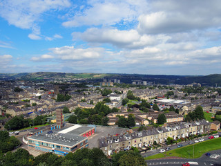 halifax yorkshire overhead panoramic view of the town and surrounding moors and king cross area