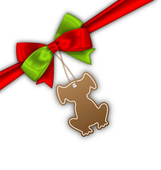 Bow Ribbon with Tag Dog, Label for 2018