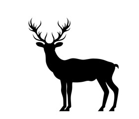 Silhouette Deer, Stag, Reindeer Isolated on White Background