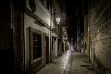 Night in the old Spanish city of Aviles, Asturias