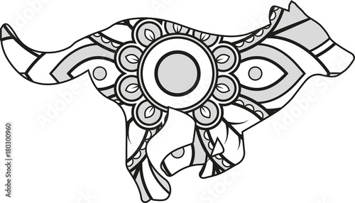Vector Illustration Of A Mandala Wolf Silhouette Stockfotos Und