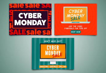 Cyber Monday Sale Social Media Post Set 3