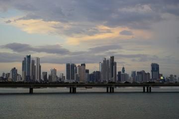 A twilight view of Cinta Costera and modern Panama City skyline, Panama