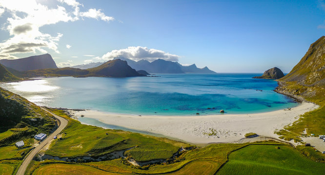 Lofoten islands from above in Norway