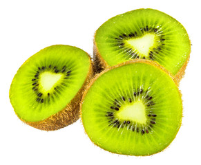 Green kiwi cut in half isolated on white background