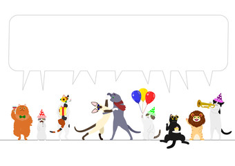 party cats border with speech bubble
