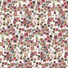 Geometric seamless pattern. The squares of different sizes and colors arranged on a white background. Useful as design element for texture and artistic compositions.