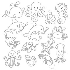 Doodle under the sea with variation style