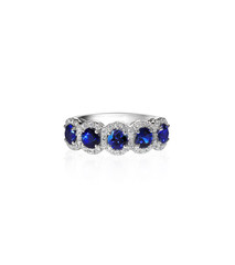 Sapphire and diamond wedding anniversary band isolated on white