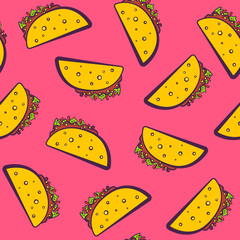 Colorful seamless pattern with cute cartoon mexican taco on pink background. Comic flat girlish pop art tacos texture for fast food textile, wrapping paper, package, restaurant or cafe menu banners