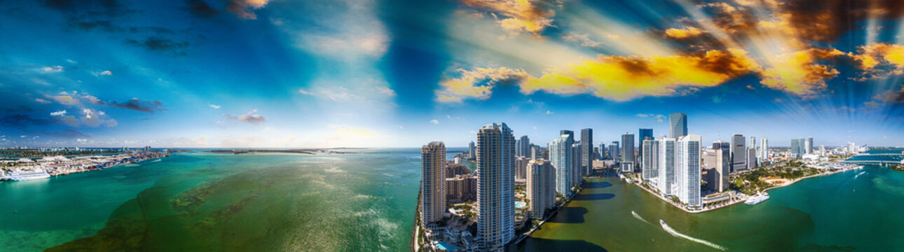 Downtown Miami and Brickell Key, panoramic aerial view