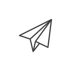 Origami plane line icon, outline vector sign, linear style pictogram isolated on white. Paper airplane symbol, logo illustration. Editable stroke