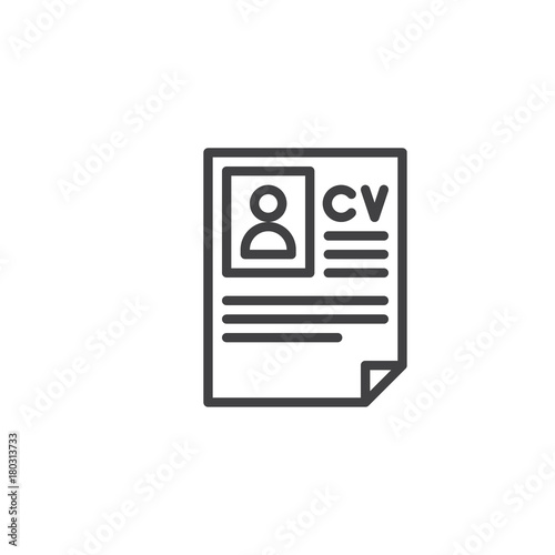 u0026quot cv resume line icon  outline vector sign  linear style pictogram isolated on white  symbol