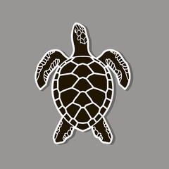 black sea turtle icon isolated on gray background