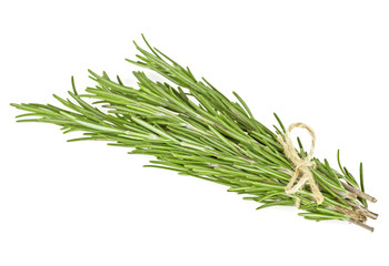 Tied fresh rosemary over white background, close up