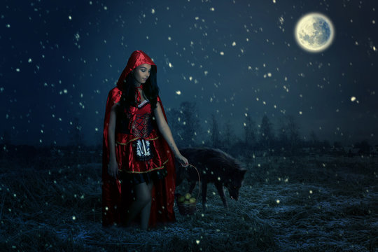 fairy tale concept with a beautiful girl . little Red Riding Hood in the forest