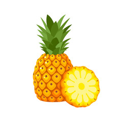 Summer fruits for healthy lifestyle. Pineapple fruit, whole and slice. Vector illustration cartoon flat icon isolated on white.