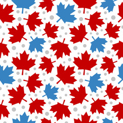 Canada Maple Leaf Seamless Pattern Background, Vector illustration