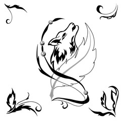 Tattoostyle wolf and feather for salons and prints