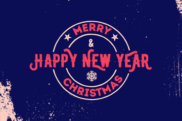 Merry Christmas and Happy New Year Typography. Vector logo, emblem, text design. Usable for banners, greeting cards, gifts etc.