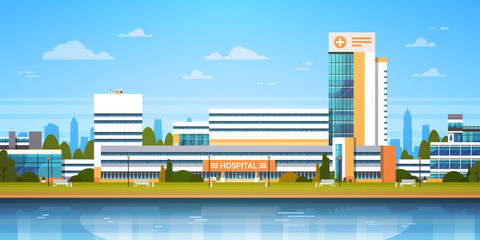 City Landscape With Hospital Building Exterior Modern Clinic View Flat Vector Illustration