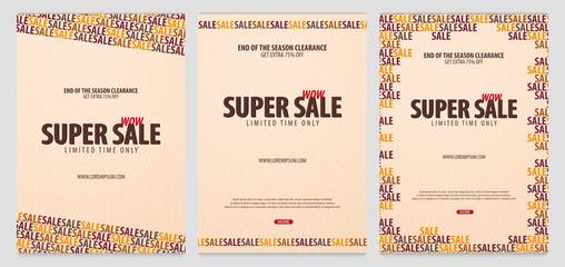 Set of Sale posters or Flyers design. Discount background for the online store, shop, promotional leaflet, poster, banner. Vector illustration.