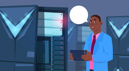 African American Business Man Working On Digital Tablet In Modern Database Center Or Server Room Businessman Engeneer Flat Vector Illustration