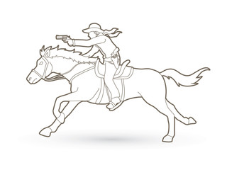 Cowboy riding horse,aiming gun outline graphic vector
