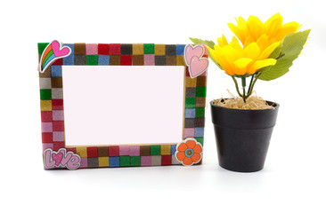 Picture Frame and sunflower for Home Decoration, isolated background