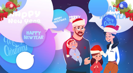 Happy Family Wearing Santa Hats Over Merry Christmas And New Year Messages On Chat Bubbles Flat Vector Illustration