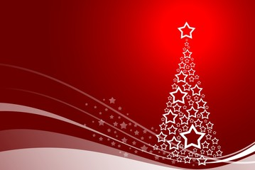 beautiful red  background with abstract christmas tree and stars