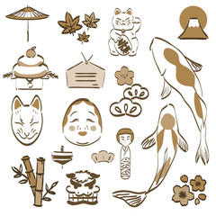 Japanese icons and symbol vector. Gold hand drawing style elements.