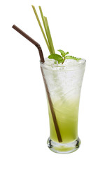 Green Soft Drink Soda on Isolated Background