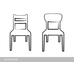 chair icon. A set of chair icons in the style of linear design.