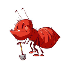 Colorful vector illustration of a funny red cartoon ant, holding a shovel