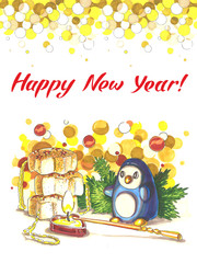Happy New Year lettering Greeting Card. llustration drawn with markers
