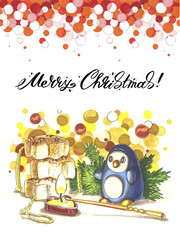 Merry Christmas lettering Greeting Card. Illustration drawn with markers