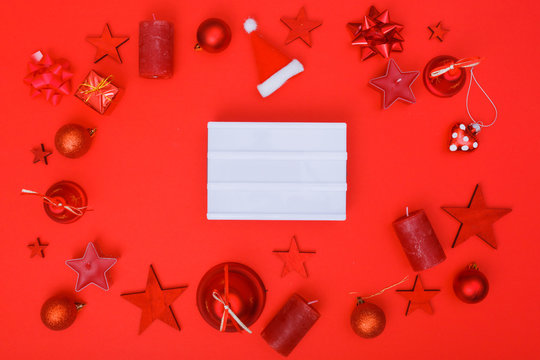 Red only christmas flat lay decoration
