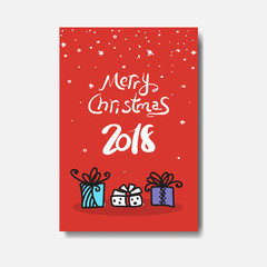 Merry Christmas 2018 Greeting Card Doodle Design Of Cute Winter Holiday Postcard Vector Illustraion