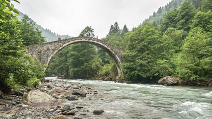 Historical Ottoman bridge Taskopru in Senyuva, Rize, Turkey